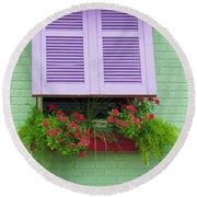 Flower Pot Window Round Beach Towel