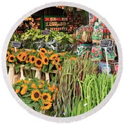 Flower Shop In Amsterdam Round Beach Towel