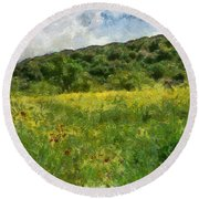 Flowering Fields Round Beach Towel