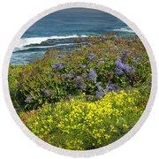 Flowers Along The Shore At La Jolla California No.0203 Round Beach Towel