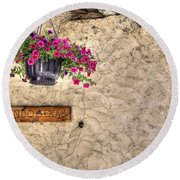 Flowers And A Signboard Round Beach Towel