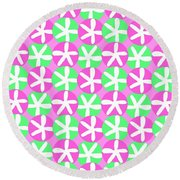 Flowers And Spots  Round Beach Towel by Louisa Knight