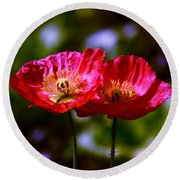 Flowers Are For Fun Round Beach Towel