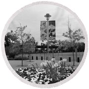 Flowers At Citi Field In Black And White Round Beach Towel by Rob Hans