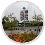 Flowers At Citi Field Round Beach Towel by Rob Hans