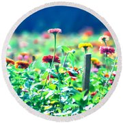 Flowers Everywhere Round Beach Towel