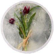 Flowers Frozen In Ice Round Beach Towel
