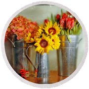 Flowers In Cans Round Beach Towel