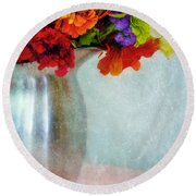 Flowers In Metal Pitcher Round Beach Towel