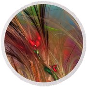 Flowers In The Grass Round Beach Towel