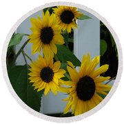 Flowers On A Fence Round Beach Towel