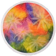 Flowers On Color Round Beach Towel