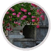 Flowers On The Steps Round Beach Towel