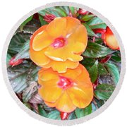 Flowers Plastic Or Real  Round Beach Towel