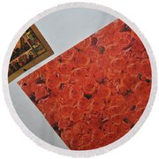 Flowers Without Justin Round Beach Towel