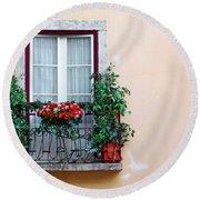 Flowery Balcony Round Beach Towel by Carlos Caetano