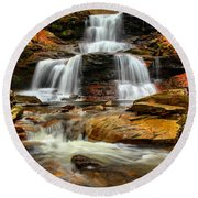 Flowing Down The Mountain Round Beach Towel