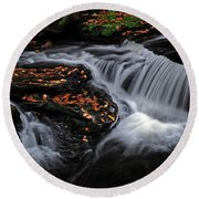 Flowing Through Fall Color Round Beach Towel