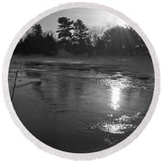 Flowing Water At Sunrise Round Beach Towel