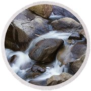 Flowing Water Down The Colorado St Vrain River Round Beach Towel