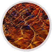 Flowing Water Of The Elwha Round Beach Towel