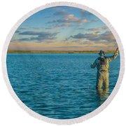 Fly Fishing Round Beach Towel