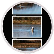 Fly Fishing Triptych Black Background Round Beach Towel