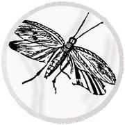 Flying Insect Round Beach Towel