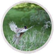 Flying Pheasant Round Beach Towel