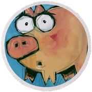 Flying Pig 1 Round Beach Towel