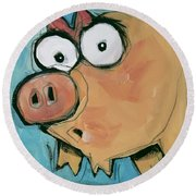 Flying Pig 2 Round Beach Towel