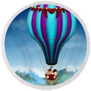 Flying Pig - Balloon - Up Up And Away Round Beach Towel