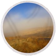 Fog Bow At Lookout Point Round Beach Towel