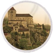 Fog Descending On St Cirq Lapopie In Sepia Round Beach Towel