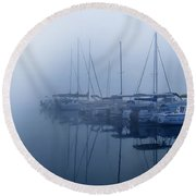 Fog Hides Sun From Sailboats Round Beach Towel