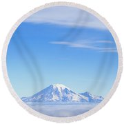 Fog, Mount Rainier, Washington Round Beach Towel
