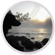 Fog On The Rocks Sunrise Round Beach Towel