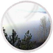 Fog On Wood Lake Round Beach Towel