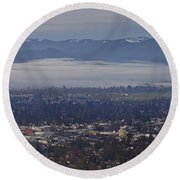 Fog Over A Grants Pass Morning Round Beach Towel