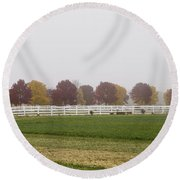 Foggy Fall Round Beach Towel