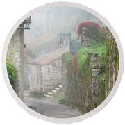 Foggy Lane In St Cirq Round Beach Towel