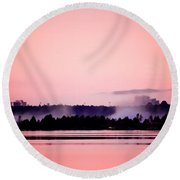 Foggy Pink Morning Round Beach Towel