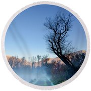 Foggy Road With A Tree Round Beach Towel
