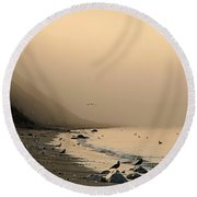 Foggy Shores Round Beach Towel