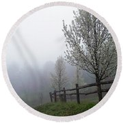 Foggy Trees In The Valley Round Beach Towel