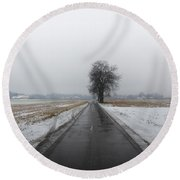 Foggy Winter Road Round Beach Towel