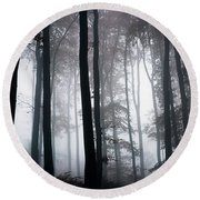 Foggy Woods Ireland Round Beach Towel