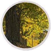 Foliage At The Cemetery Round Beach Towel