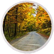Follow The Yellow Leafed Road Painted Round Beach Towel