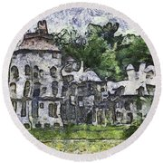 Fonthill Castle Round Beach Towel